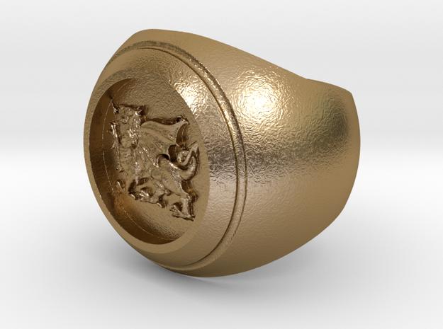 Welsh Dragon Signet Ring in Polished Gold Steel