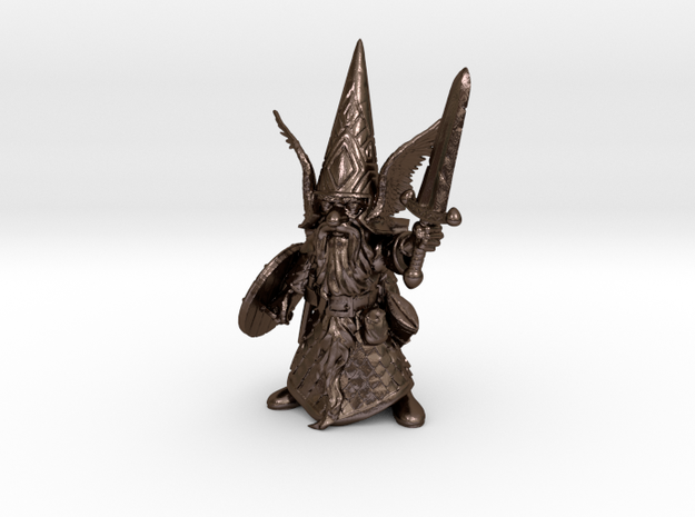 """12"""" Guardin'Gnome with Sword in Polished Bronze Steel"""