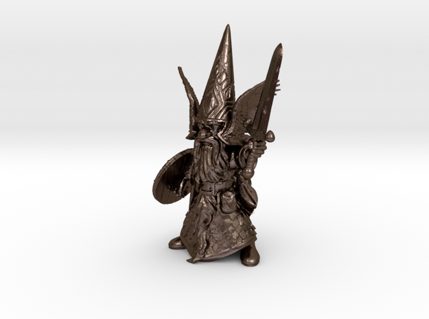 """18"""" Guardin'Gnome with Sword in Polished Bronze Steel"""
