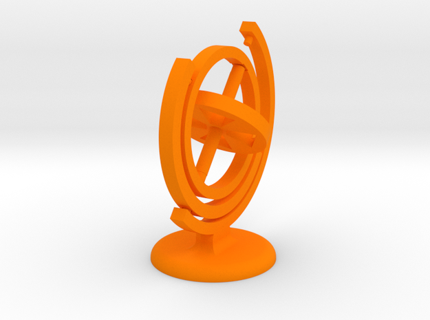 Gyroscope with stand (coloured plastic) in Orange Processed Versatile Plastic