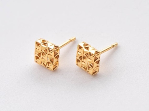 3D Pyramid Square Hollow Studs in 18k Gold Plated Brass