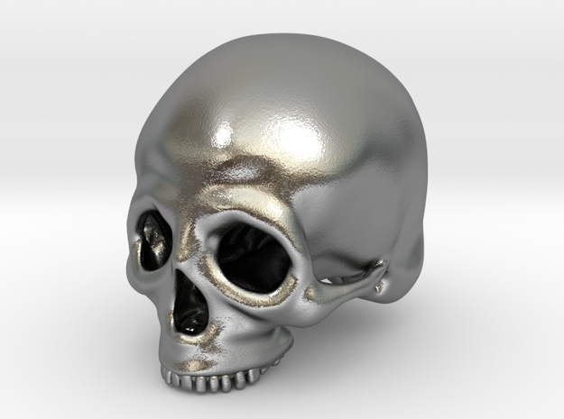 Skull Deko (small) in Natural Silver