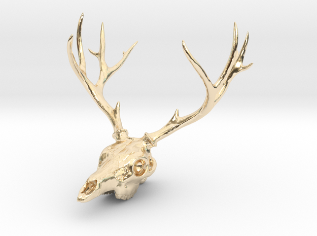 Deer Skull Pendant - 3DKitbash.com in 14k Gold Plated Brass