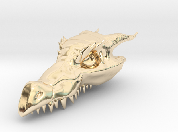 Dragon Skull Pendant - 3DKitbash.com in 14k Gold Plated Brass