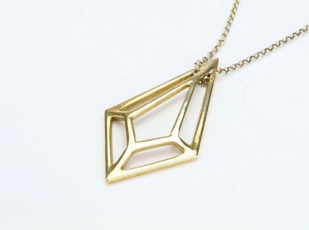 Geometric necklace in Polished Brass
