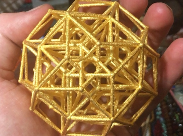 Tesseract in Polished Gold Steel