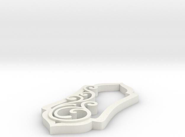 Swirl Pendant One Large Swirl in White Natural Versatile Plastic