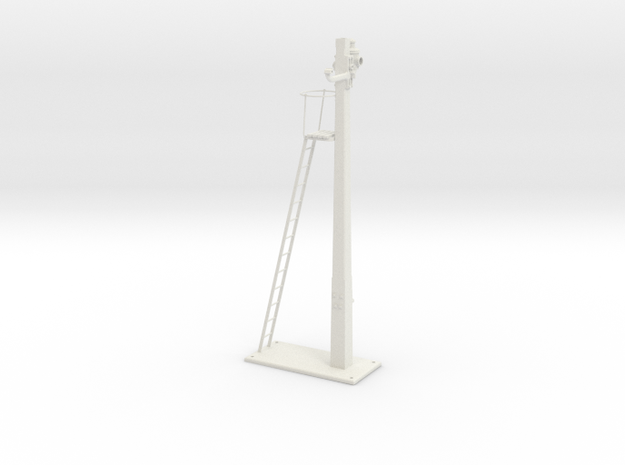 Signal Semaphore Post Ladder and Base 1:19 scale in White Natural Versatile Plastic
