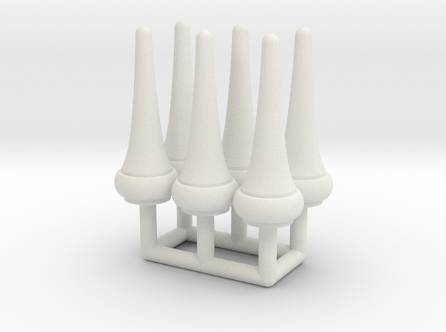 Finial Semaphore Pointed Cone 1-19 scale pack in White Natural Versatile Plastic