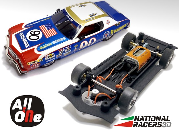 Chassis SCALEXTRIC FORD GRAN TORINO (AiO-Inline) in Black Natural Versatile Plastic