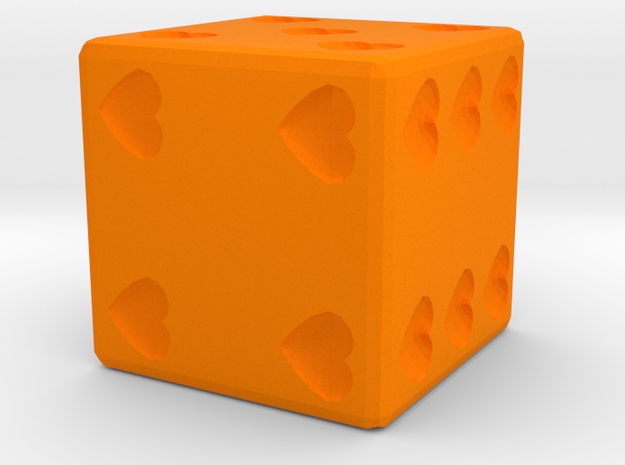 Hearts Dice in Orange Processed Versatile Plastic