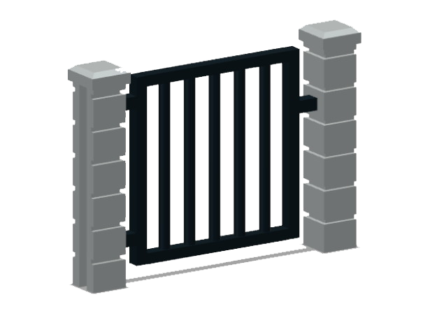 Rod Iron Man Gate-1b in Smooth Fine Detail Plastic: 1:87 - HO