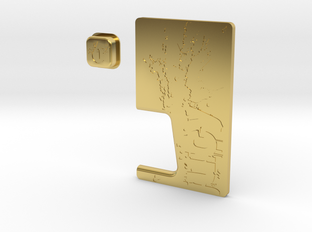 JUICY Door & Button Combo in Polished Brass