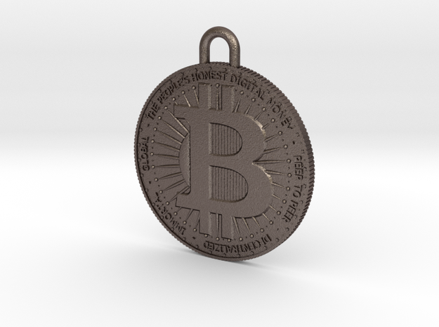 BITCOIN-Keychain in Polished Bronzed-Silver Steel