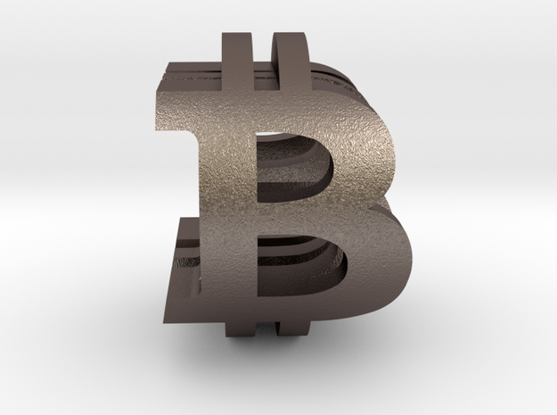 Bitcoin Peace in Polished Bronzed-Silver Steel