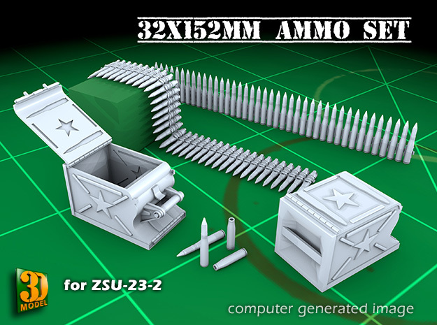 ZSU-23 Ammo+Boxes (23x152mm) in Smooth Fine Detail Plastic