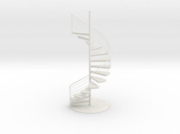 Miniature Spiral staircase in White Natural Versatile Plastic