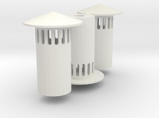 HO Vent Stack (3) (1:87) in White Natural Versatile Plastic