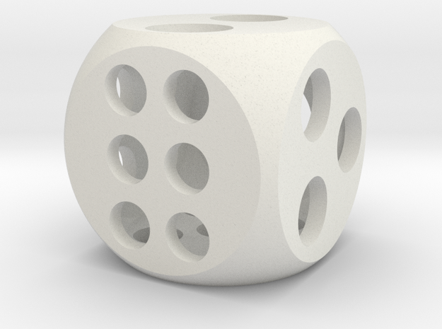 "0.5"" Balanced D6 in White Natural Versatile Plastic"
