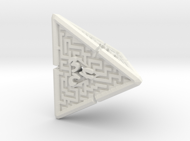 4 Sided Maze Die V2 in White Strong & Flexible