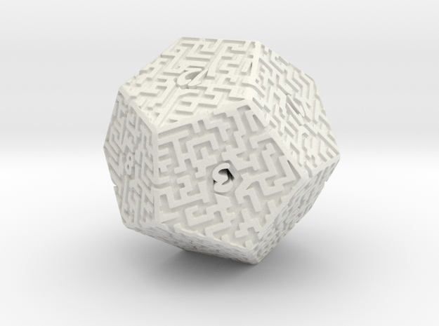 12 Sided Maze Die in White Natural Versatile Plastic