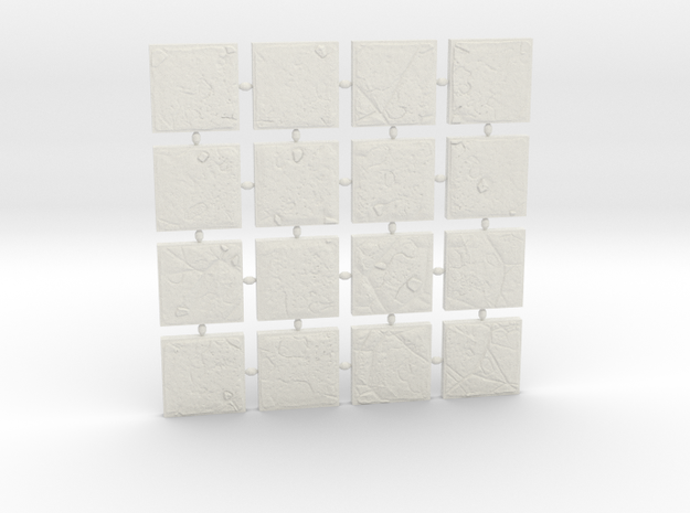 A set of 16 dungeon tiles in White Natural Versatile Plastic