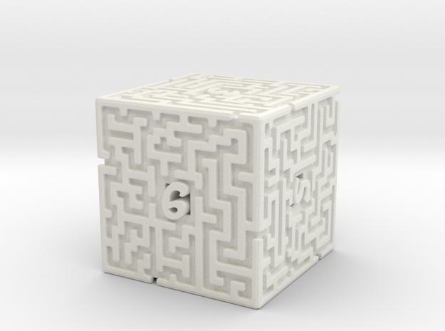 6 Sided Maze Die in White Natural Versatile Plastic