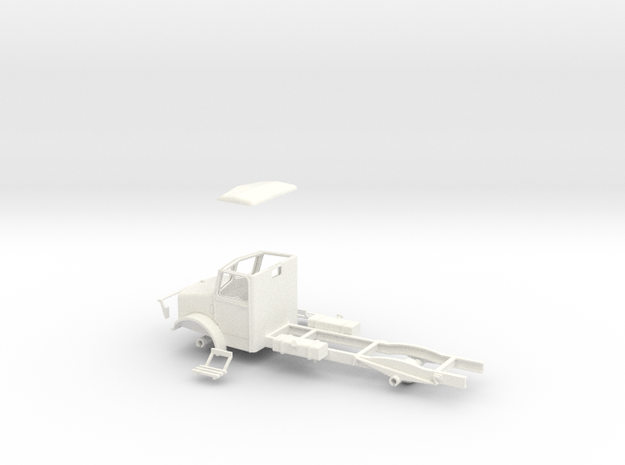 1:43 Bedford OY cab & chassis (twin fuel tanks)  in White Processed Versatile Plastic