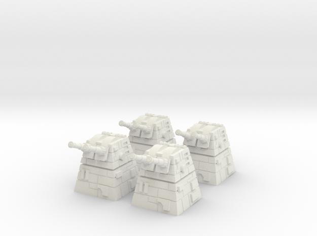 4x Turbolaser Turret in White Natural Versatile Plastic