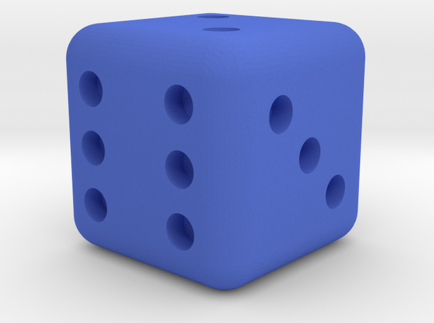 6 sided dice (d6) rounded edges 20mm in Blue Processed Versatile Plastic