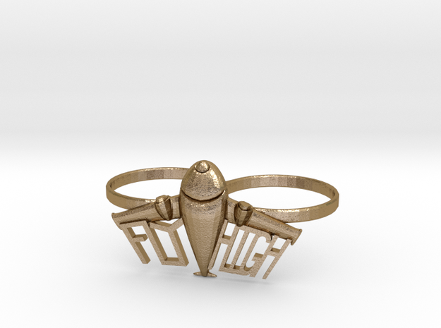 Plane Double Ring in Polished Gold Steel