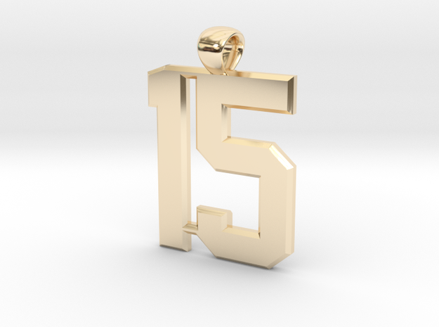 Number 15 in 14k Gold Plated Brass