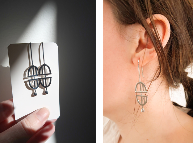 Statement Earrings in Polished Silver