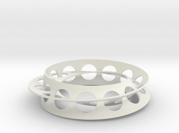 Golden Ratio Moebius Double Strip in White Natural Versatile Plastic