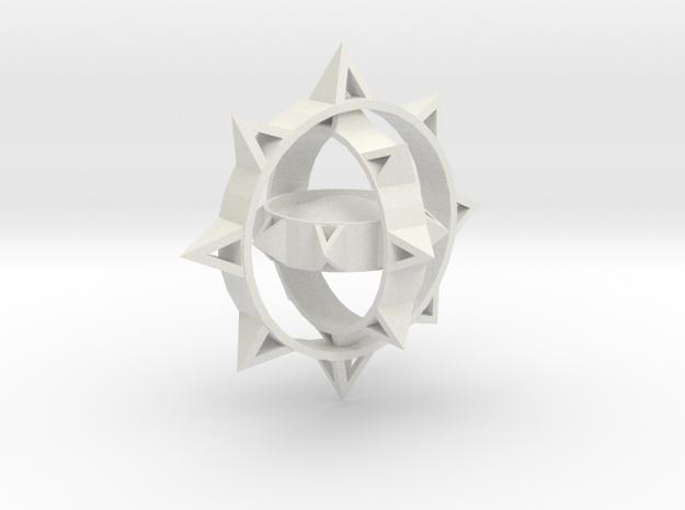 Sun Keychain Variation in White Natural Versatile Plastic