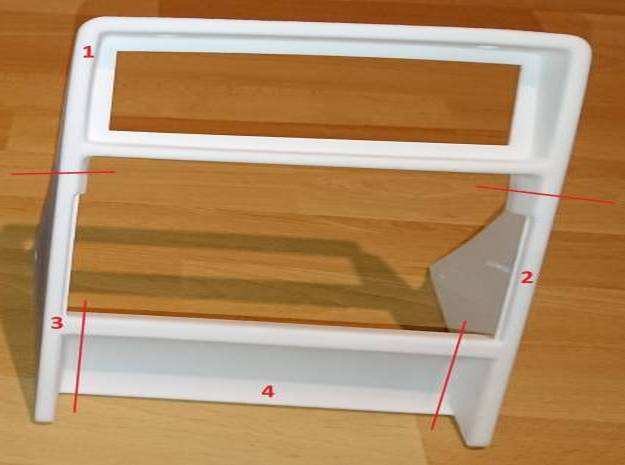 Lancia Delta centre console frame - Part 1 in White Natural Versatile Plastic