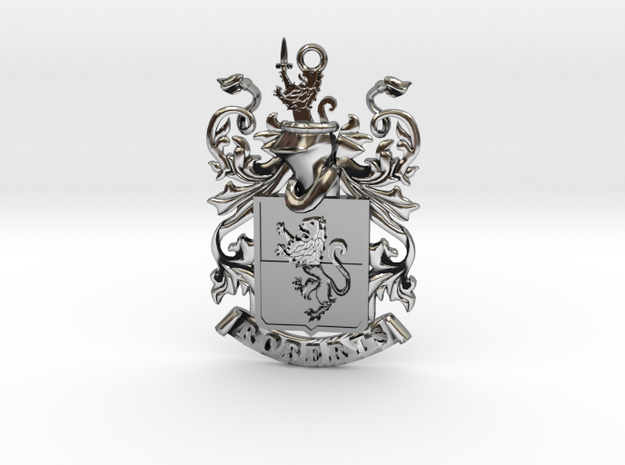 Roberts Family Crest Coat of Arms Pendant in Antique Silver