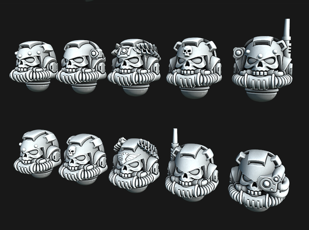 Skull Rebreather Helmets - Tactical versions in Smooth Fine Detail Plastic