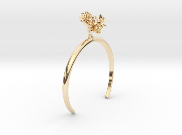 Cherry bracelet with four small flowers in 14k Gold Plated Brass: Medium