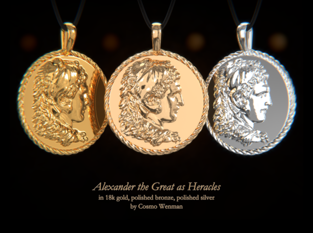 ALEXANDER THE GREAT as Heracles necklace pendant in Polished Silver