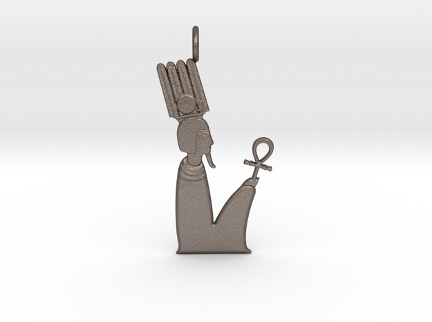 Anhur / Onuris amulet in Polished Bronzed-Silver Steel