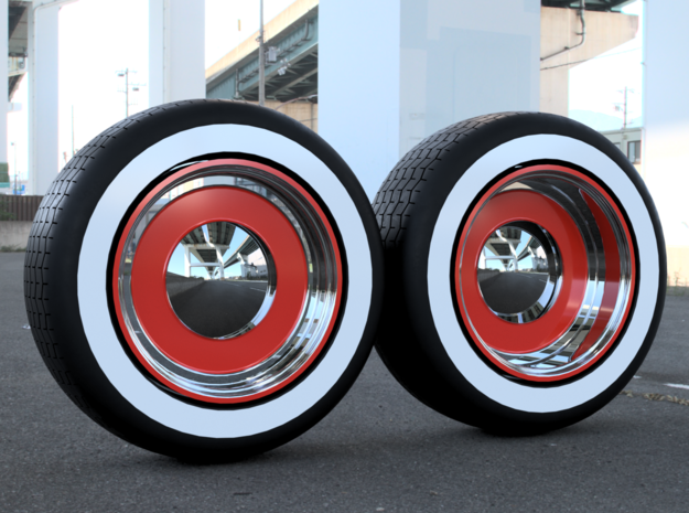 Roadster smoothie wheels w/ tires - 2 sets in Smoothest Fine Detail Plastic