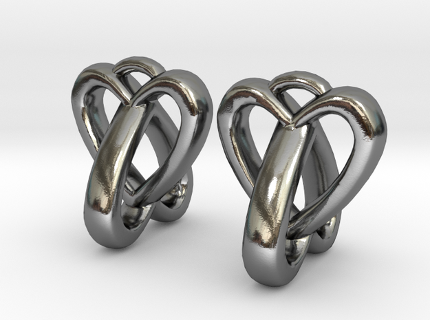 Interlocked Heart Earrings in Polished Silver