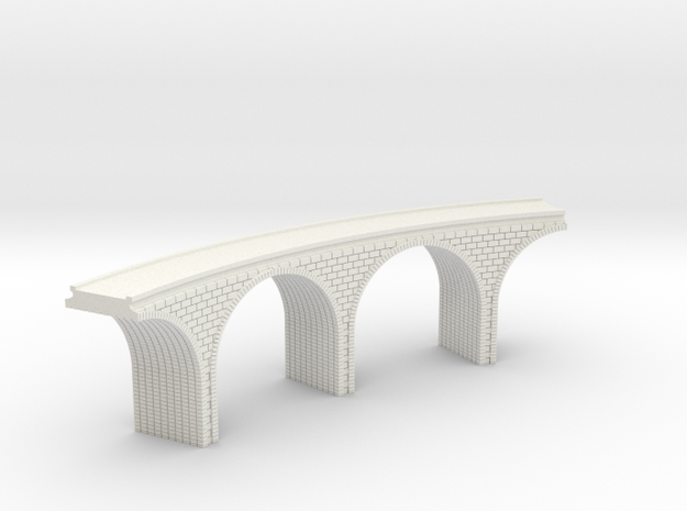N Scale Arch Bridge Curved Double 1:160 Scale in White Natural Versatile Plastic