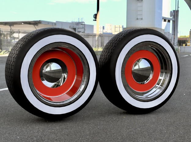 1/64 scale Staggered Roadster wheels w/ tires in Smoothest Fine Detail Plastic