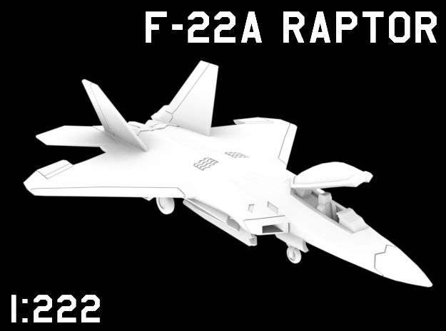 1:222 Scale F-22A Raptor (Loaded, Stored) in White Natural Versatile Plastic