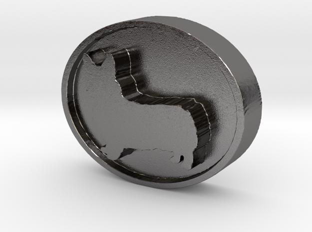 Corgi Charm (thicker version) in Polished Nickel Steel