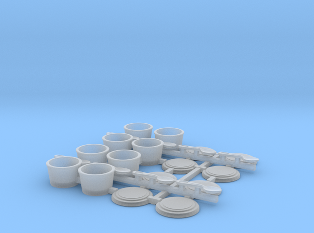 Small Cups Type B with spoons 1/12 scale in Smoothest Fine Detail Plastic