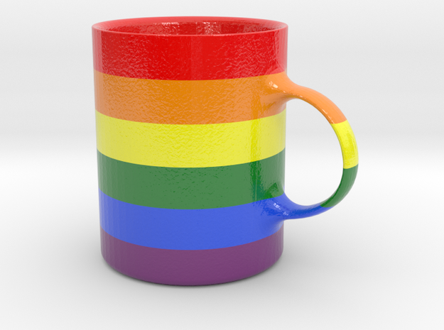 Rainbow Cofee Cup in Glossy Full Color Sandstone