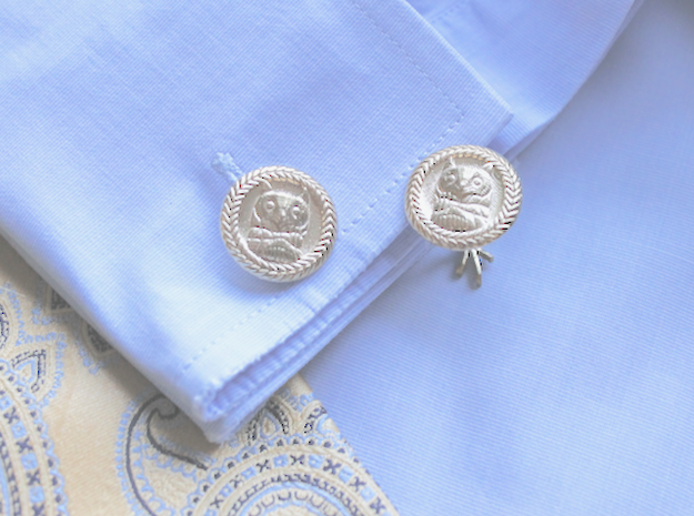 Owl Cufflinks with Claws in Natural Brass